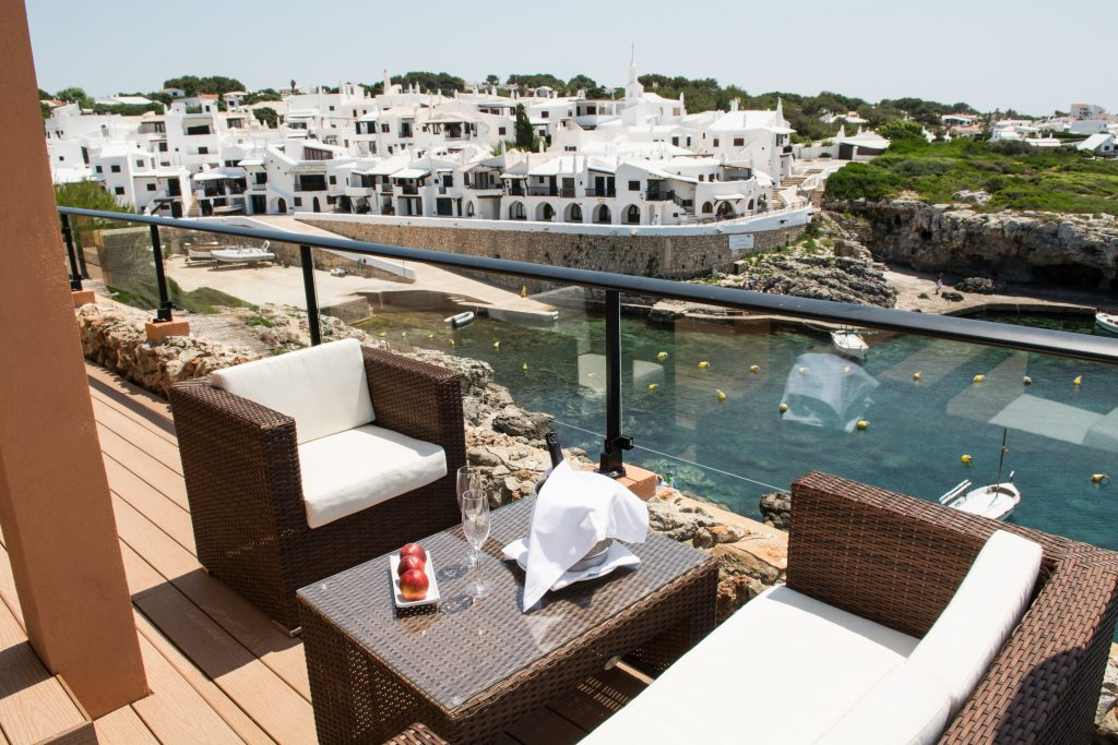 private terrace with seating arrangement in Menorca Binibeca